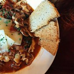 Cloudy days and Bolognese :cloud: Call to make a reservation!  @sderby928 - - - - Braised short rib bolognese |House made black pepper pasta | Tomatoes | RI Mushroom Co. roasted mushrooms | Spinach | Narragansett creamery divine Providence gouda | Focacci