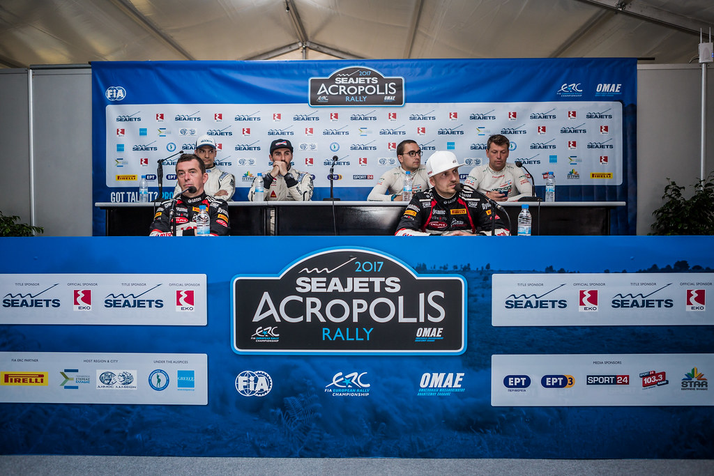 MAGALHAES Bruno (prt) and MAGALHAES Hugo (prt), GRZYB Grzegorz (pol) and WROBEL Jakub (pol), KAJETANOWICZ Kajetan (pol) and BARAN Jaroslaw (pol) conference de presse press conference during the European Rally Championship 2017 - Acropolis Rally Of Grece - From June 2 to 4 - Photo Thomas Fenetre / DPPI