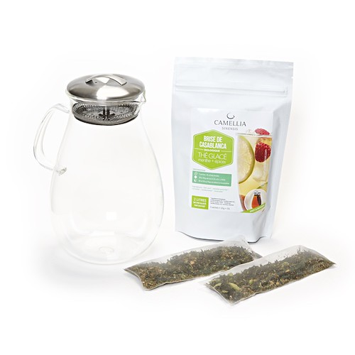 Pichet en verre + sachets de thé glacé