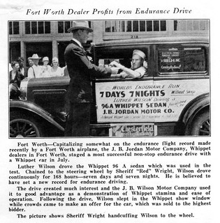 1929 Whippet 96A at J. B. Jordan Motor Co., Fort Worth TX