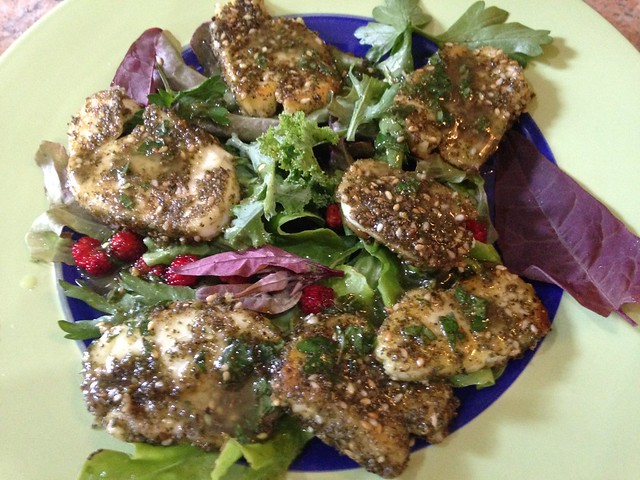 Za'atar-crusted Halloumi Salad with a Lime and Mint Dressing