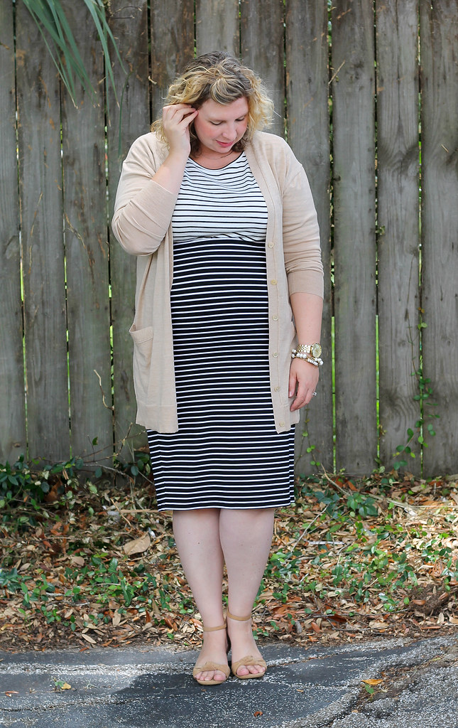 black and white stripe pencil skirt, white and black stripe shirt and tan cardigan 3