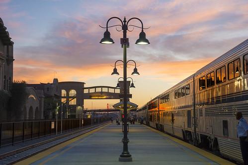california sanbernardino trainstation amtrak train southwestchief lamppost sunset travel vacation