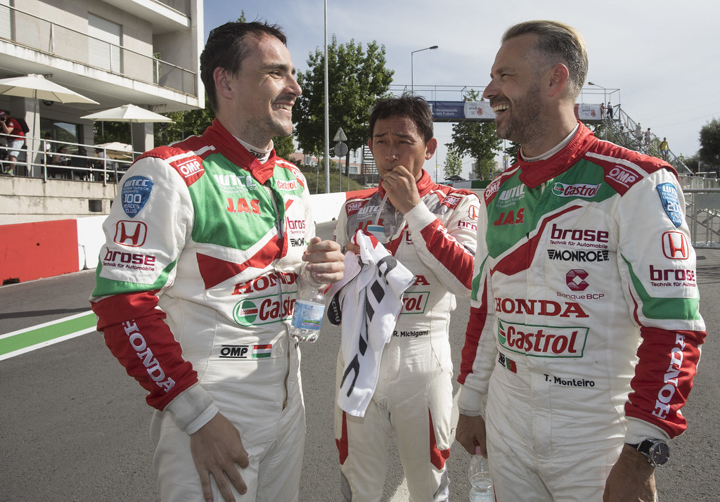 MICHELISZ Norbert (hun) Honda Civic team Castrol Honda WTC ambiance portrait MICHIGAMI Ryo (jpn) Honda Civic team Honda racing team Jas ambiance portrait MONTEIRO Tiago (prt) Honda Civic team Castrol Honda WTC ambiance portrait during the 2017 FIA WTCC World Touring Car Championship race of Portugal, Vila Real from june 23 to 25 - Photo Gregory Lenormand / DPPI