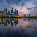 Singapore City, Clouds and Reflection