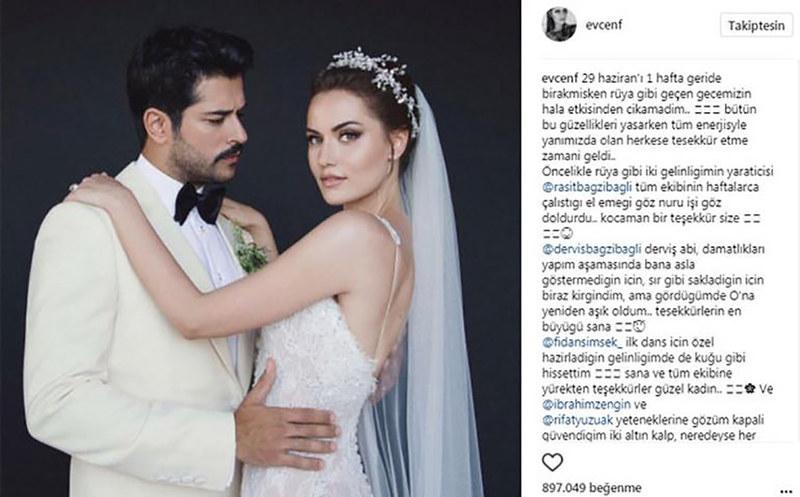 Fahriye Evcen instagram hesabından teşekkür mesajı yayınladı