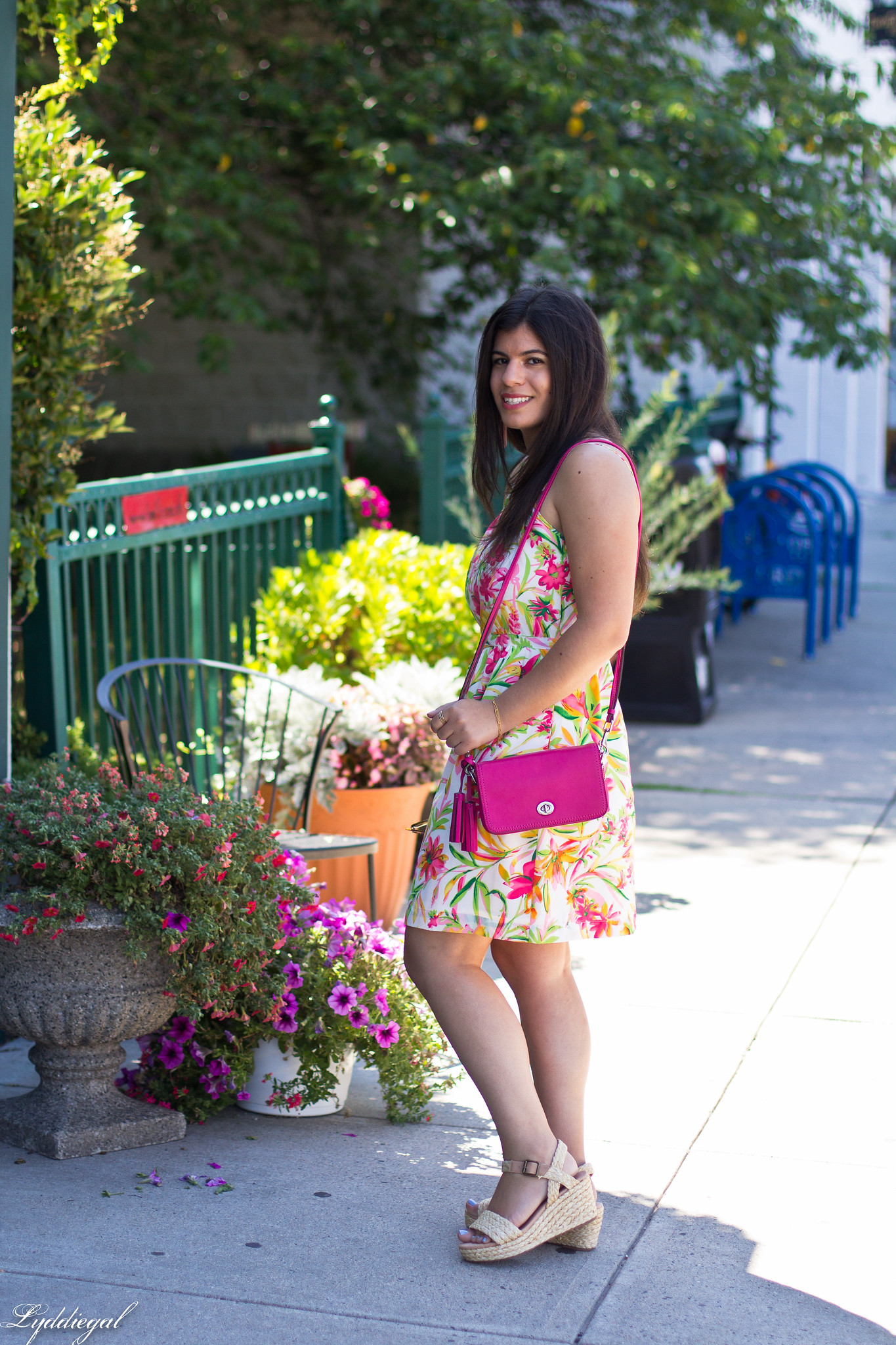 floral cami dress, pink coach bag, platform espadrilles-2.jpg