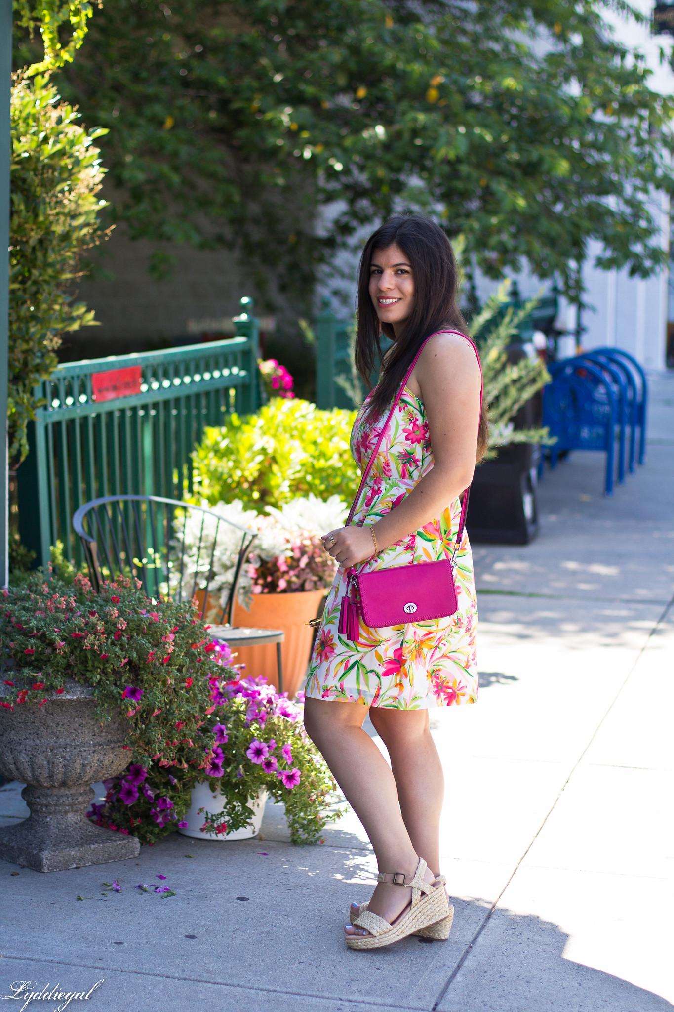 floral cami dress, pink coach bag, platform espadrilles-2.jpg