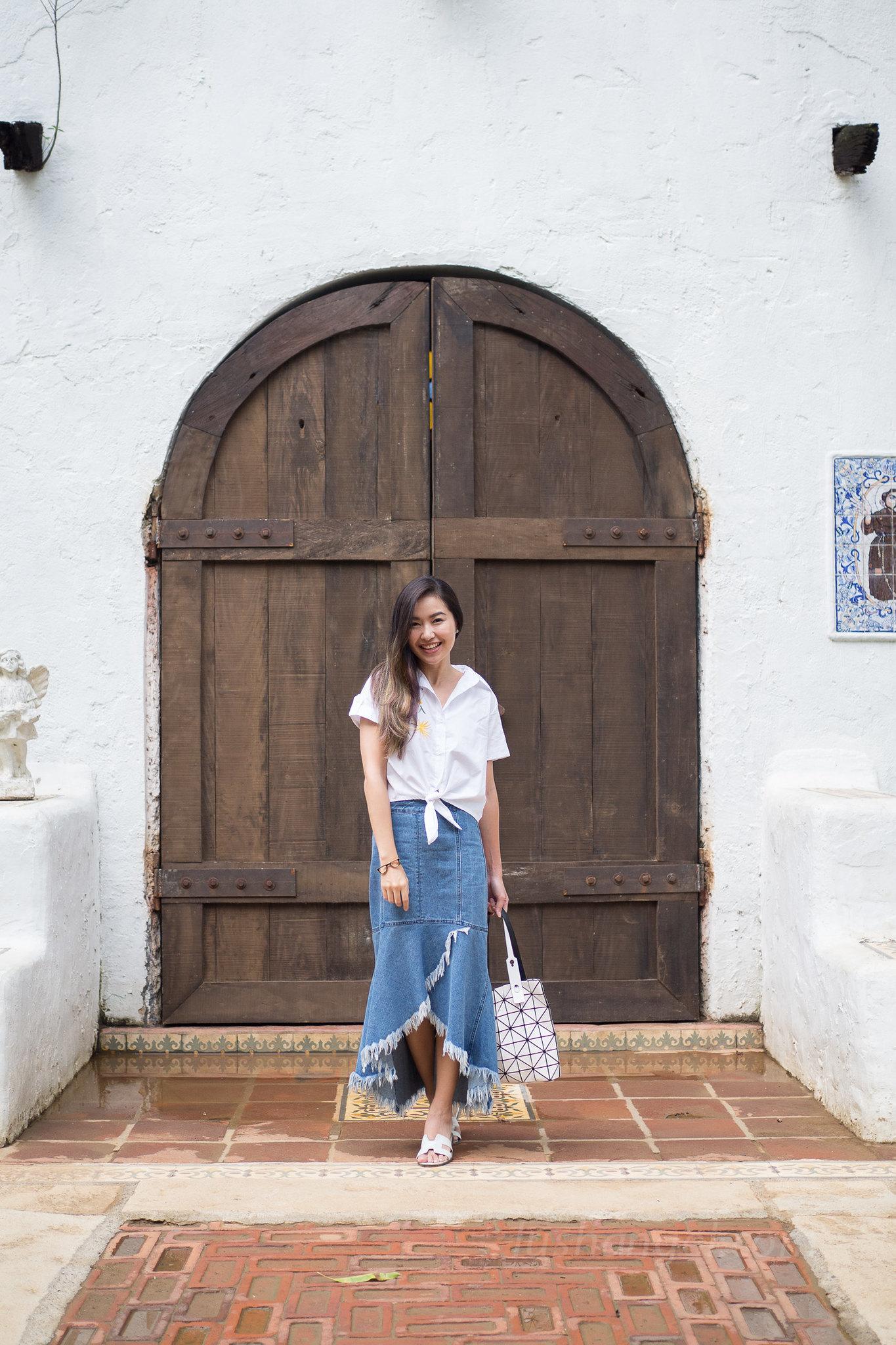 frayed-long-denim-skirt