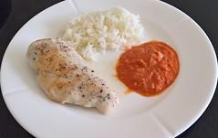 Kyllingebryst i tomatsauce med ris