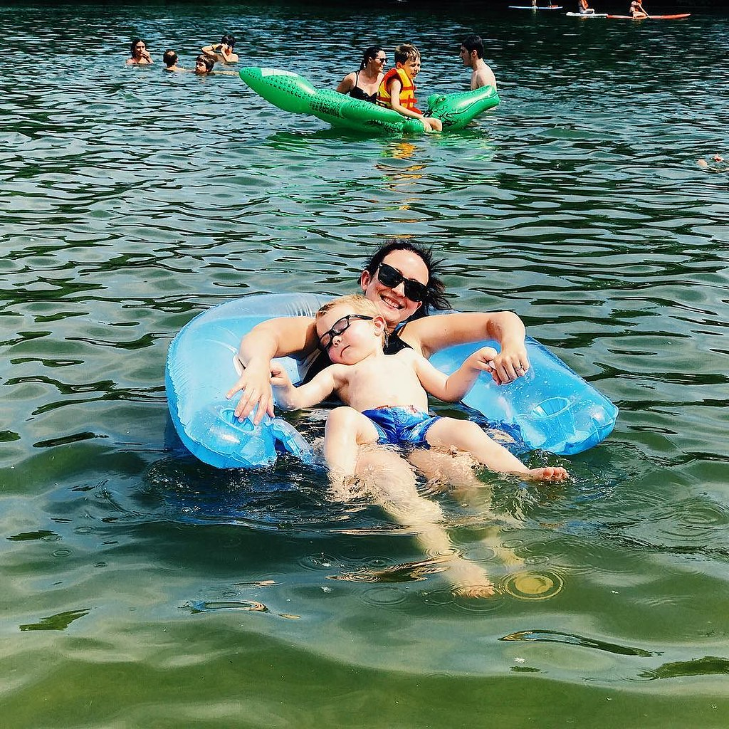 Mommy and #ezrayuuto chillin out on the lake. // #boystownliving
