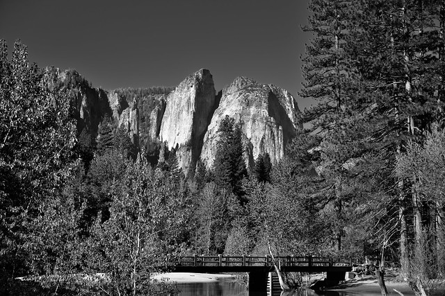 Swinging Bridge with a Backdrop of Cathedral Rocks and Spires (Black & White)