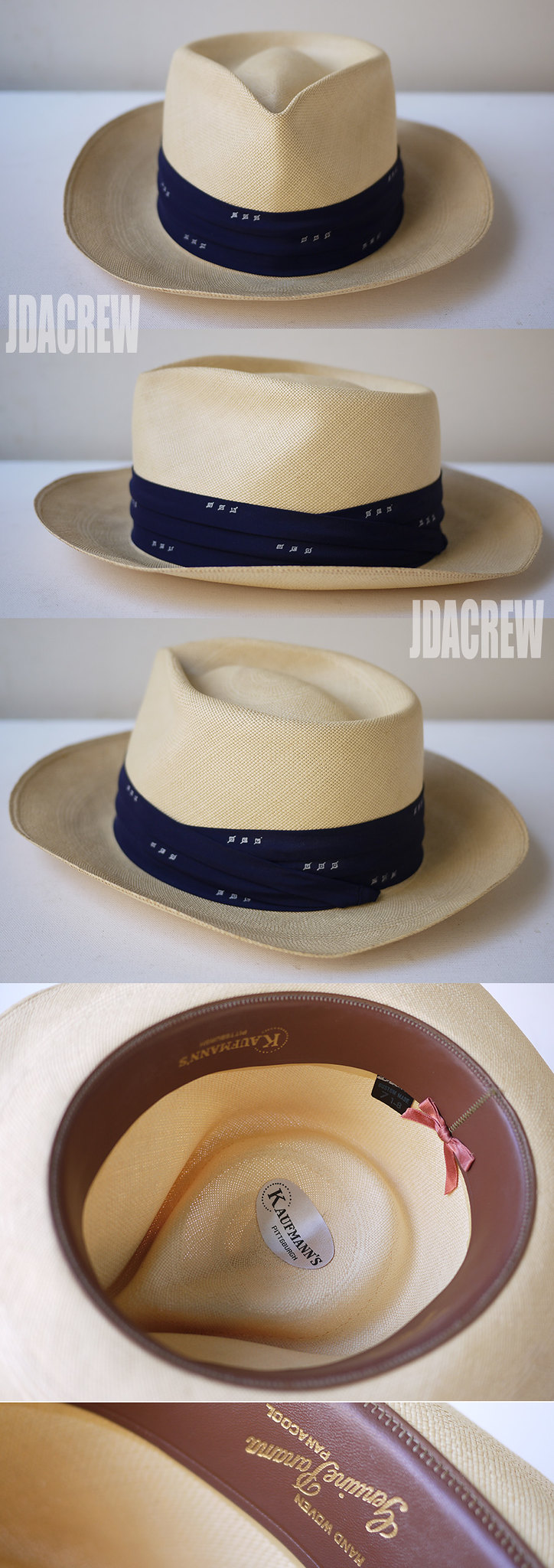 ヴィンテージパナマハットストロー帽子JDACREW