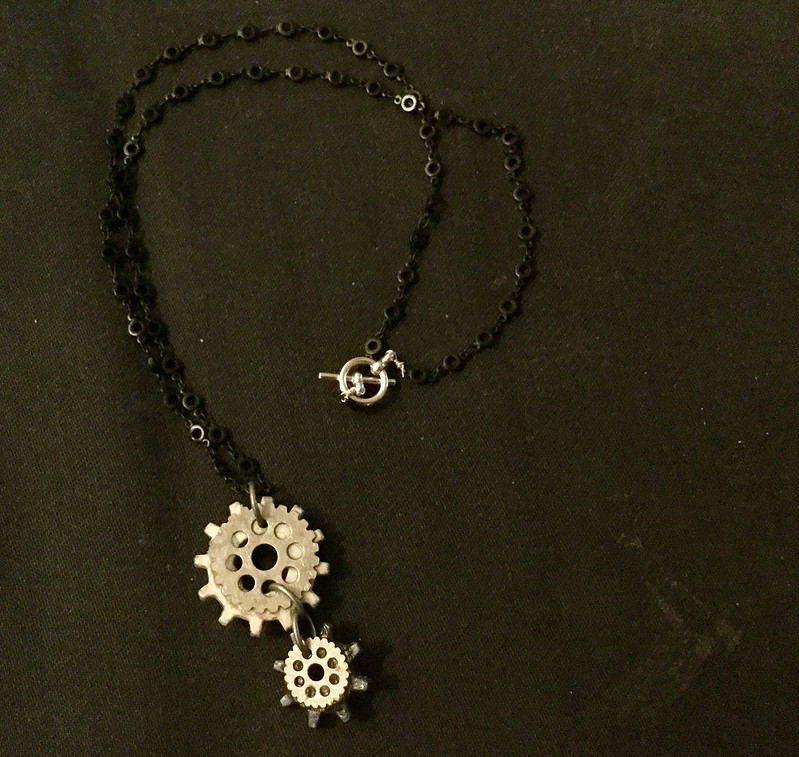 black & white gear necklace