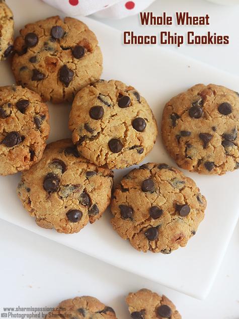 Eggless whole wheat choco chip cookies recipe