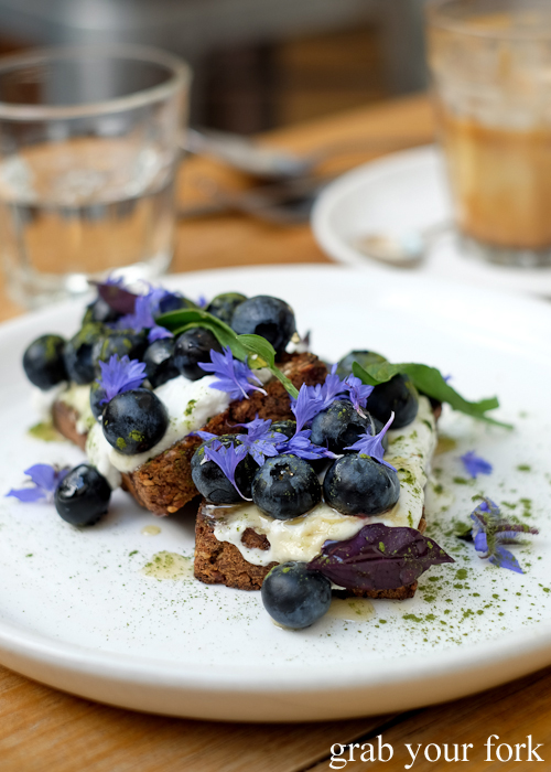 Organic blueberries on rye at Tricycle Cafe in Salamanca Place in Hobart