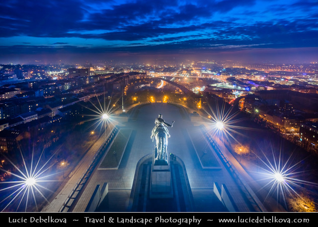 Czech Republic - Prague - Vítkov hill - Equestrian Statue of Jan Žižka of Trocnov at Dusk - Twilight - Blue Hour - Night