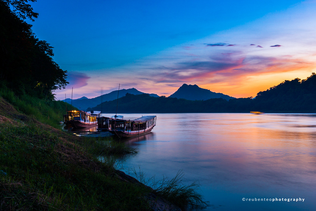 Sunset of Mekong River in Luang Prabang
