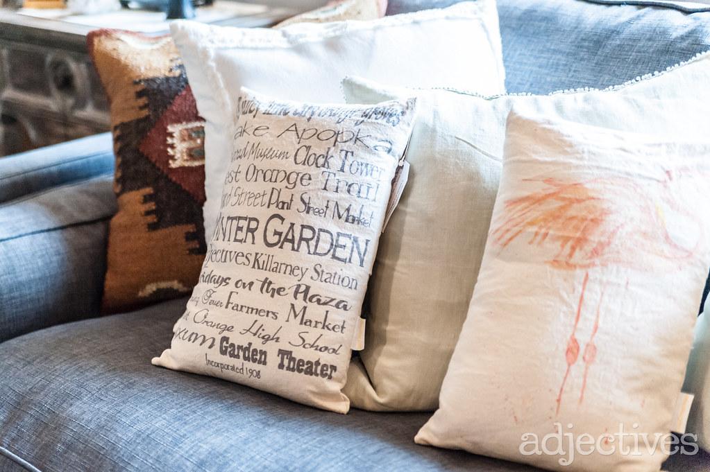 Decorative Pillows in Winter Garden