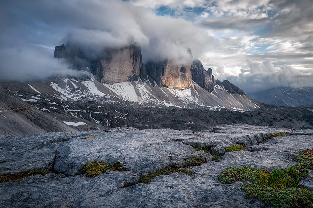 Tre Cime in the clouds