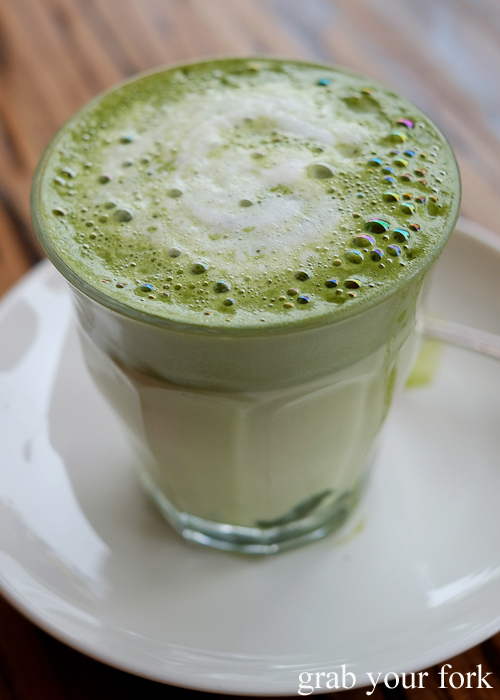 Matcha latte at Manmaru Japanese bakery cafe in Dulwich Hill Sydney