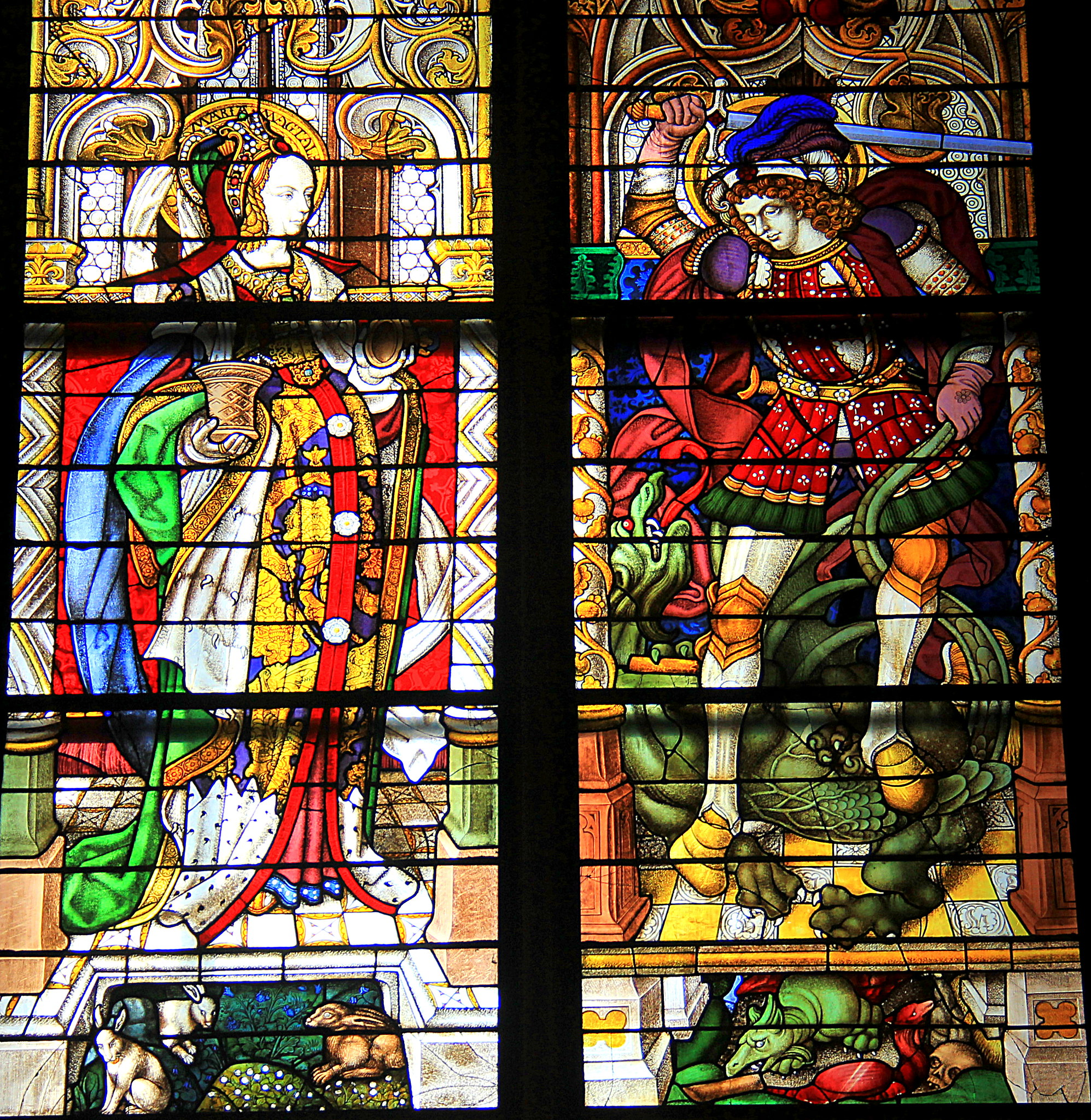Stained glass interior of the Cologne Cathedral