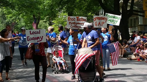 Chris Wilhelm for Montgomery County Council, featuring an overtly progressive campaign agenda, at the Takoma Park Maryland July Fourth Parade