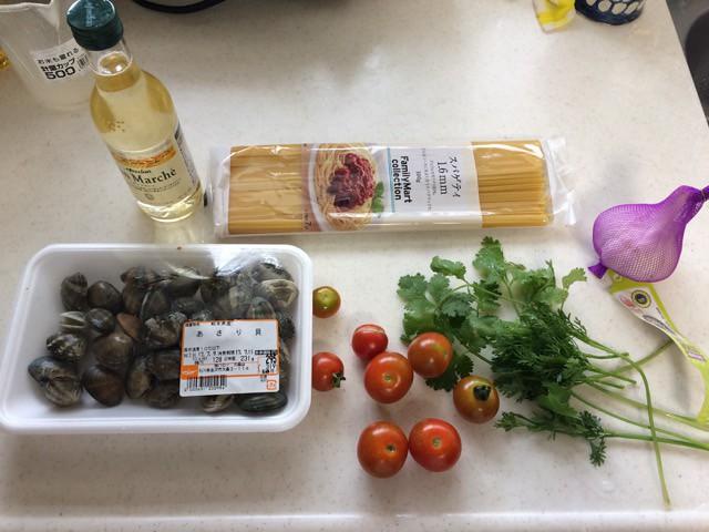 ミニトマトとパクチーのボンゴレ!