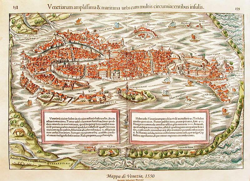 Map of Venice in 1550, by Sebastian Munster