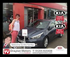 Congratulations to Amanda Retford collecting her Kia Cee'd from Adrain!