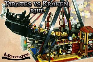 自家樂高樂園再擴建?!超酷的樂高MOC 海盜船【海盜VS. 海怪】Pirates VS Kraken Ride 讓你的樂高小人們頭暈目眩吧!!