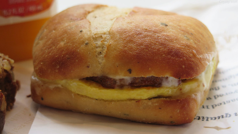 Chorizo, egg, and cheese ciabatta breakfast sandwich