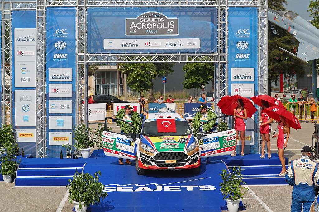 BANAZ Bugra (tur) and ERDENER Burak (tur) ambiance portrait  podiumduring the European Rally Championship 2017 - Acropolis Rally Of Grece - From June 2 to 4 - Photo Gregory Lenormand / DPPI