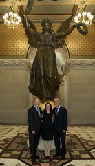 "Fernando G. Rosa, Director of the Portuguese-American Leadership Council of the United States (PALCUS), State Rep. Rosa C. Rebimbas and Portugal Ambassador to the United States Domingos Fezas Vital in front of the ""Genius"" statue after the annual Day of Portugal ceremony at the State Capitol on Friday, June 9, 2017."