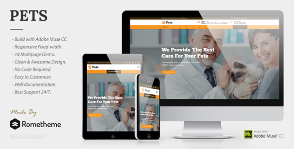 PETS v1.0 – Pet Care, Shop, and Veterinary Muse Template
