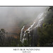 Blue Mountains and waterfall in heavy fog by sugarbellaleah