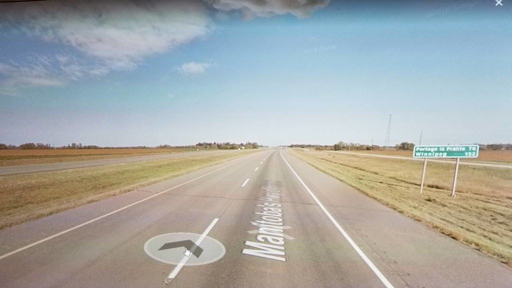 Portage la Prairie 76 km, Winnipeg 152 km. #ridingthroughwalls #xcanadabikeride #googlestreetview