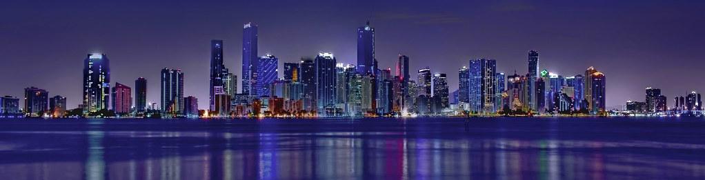 Panoramic View Of The Skyline Of Miami  Florida  Usa    The