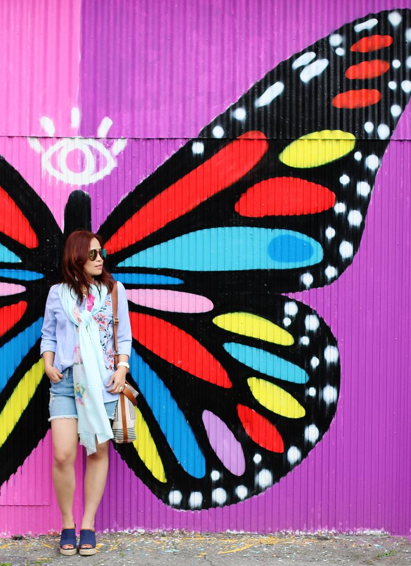 denim-shorts-button-down-shirt-butterfly-wall-9