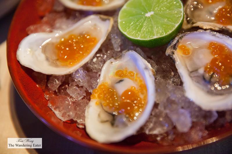 """Norumbega oysters with kinchi """"caviar"""""""