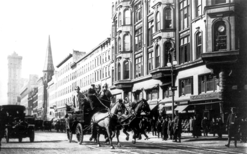 Horse-drawn fire engines in street, on their way to the Triangle Shirtwaist Company fire, New York City March 25 1911