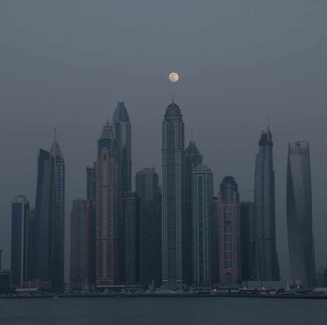 Moon over the Dubai Marina
