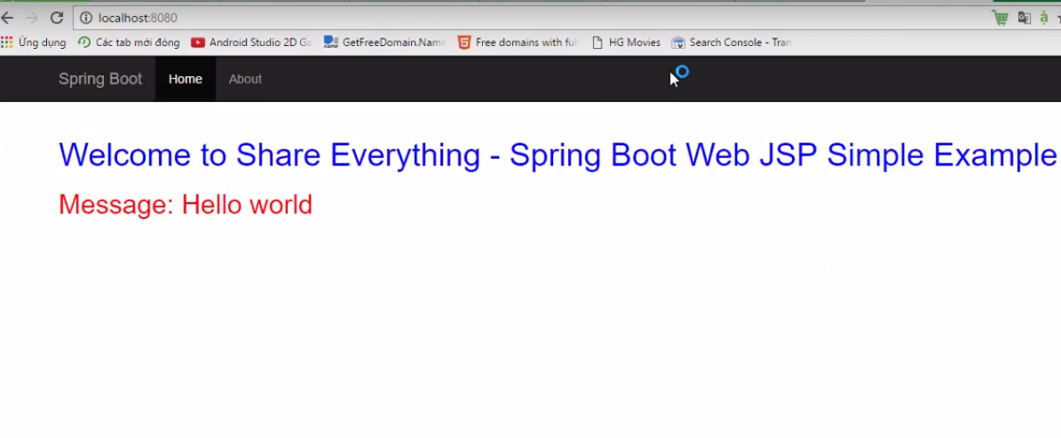 Lập trình Hello World trong Spring boot với JSP View