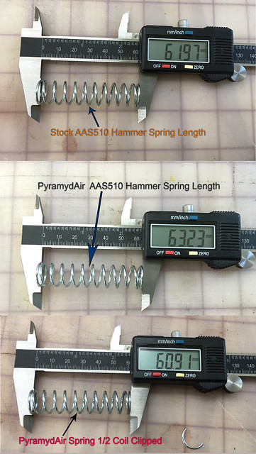 AAS510 Stock and  Pyramyd Air hammer spring lengths