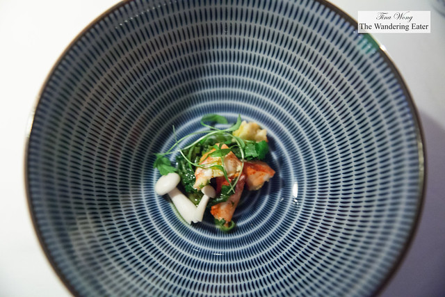 Second course (Chefs Tasting menu) - Indonesian style lobster broth, pickles, chili