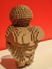 Venus of Willendorf from 25000 BCE recreated by Lego artist Nathan Sawaya