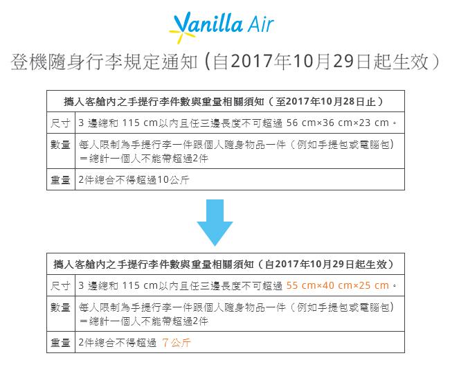 香草航空手提行李2017