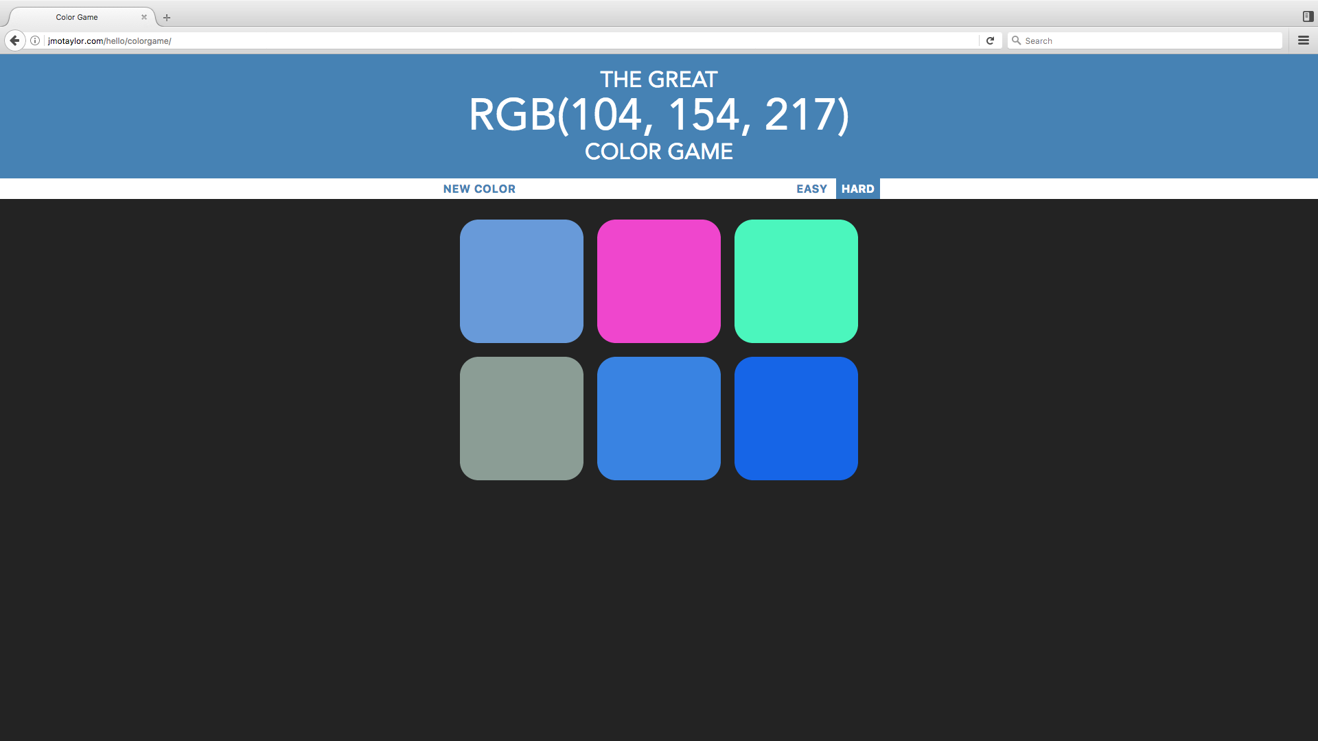 Color Game web app picture
