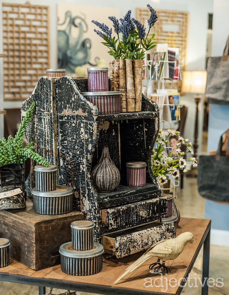 Vintage inspired home decor and candles at Adjectives Altamonte