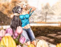 Sabrymoon wearing FashionNatic Emily Top Vily Jeans Shorts Boutique 187 Eagle Claw Necklace Gold @ Spring Cleaning :LW: Poses Who I am pose